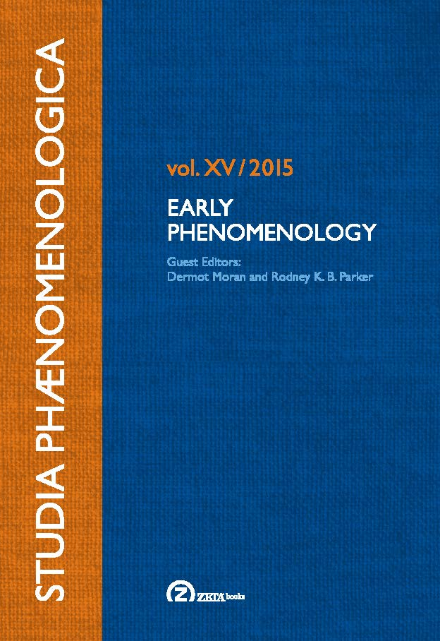 Studia Phaenomenologica: Vol. XV / 2015 - Early Phenomenology Book Cover